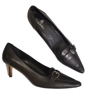Brooks Brothers Black Genuine Leather Pointy Pumps